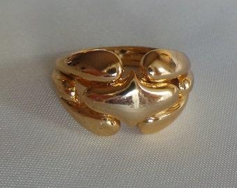 Ring Helena Rubinstein vintage gold brass size 49