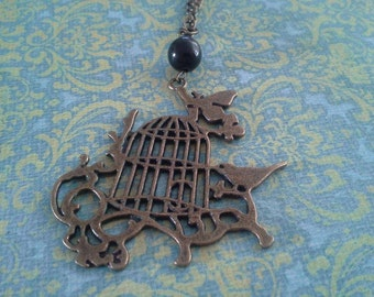Birdcage Necklace in Bronze Tone