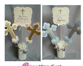 Baptism Boy Girl Centerpiece-Communion Centerpiece-Baptism Centerpiece-Cross Centerpiece-Christening  Centerpiece- MiBautizo Centerpiece