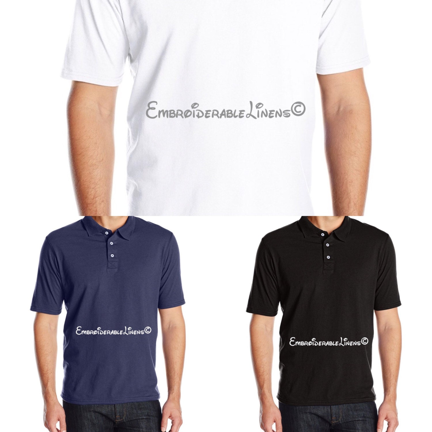 Polo shirts with embroidery choice of font and color for Order company polo shirts