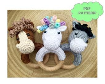 CROCHET PATTERN rattle horse (+ extra donkey and unicorn)