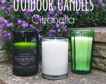 Citronella Soy Wax Outdoor Candles in Upcycled Bottles