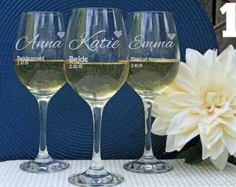 8 Personalized Wine Glasses, Custom Wine Glasses, Engraved Wine Glasses, Bridal Party  Favors, Wedding Party Favors, Bridesmaid gifts.