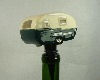 Camper Trailer Wine Stopper - Ceramic with Green Stripe