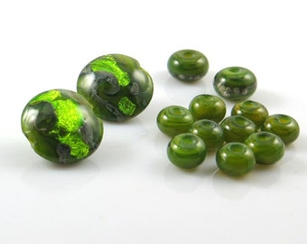 Destash, Green Handmade Lentil Lampwork Beads, Green Foil Glass Beads,
