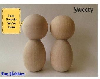 Kokeshi dolls - Peg dolls - DIY Blank Unpainted Unfinished wooden dolls - Ready to paint - Set of 2 - Sweety twin