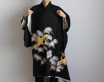 Kimono, Japanese embroidery, tomesode, black kimono, crane, summer kimono /369