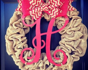 Custom Made Monogrammed Burlap Wreath with Chevron  bow