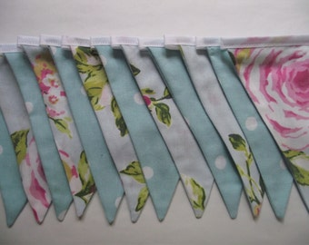 A LONG 30ft / 9.1 Meters - 44 flags floral and polka dot fabric bunting. perfect for a fete/weddding/garden party.