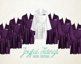 FREE ROBE Set of 7+ Plum Satin Kimono Robes, Bridesmaid's Gift, Bridal Party Robes, Set of Bridesmaids Robe, Wedding Robe, Bridal Robe Gown