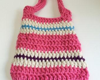 Tote Bag, Chunky Crochet Pink White Blue