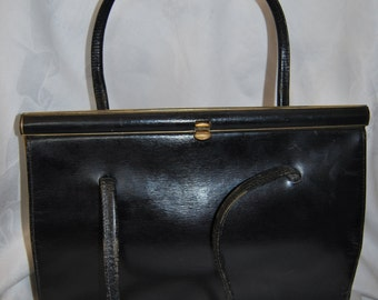 1960's navy Peter Leigh leather handbag