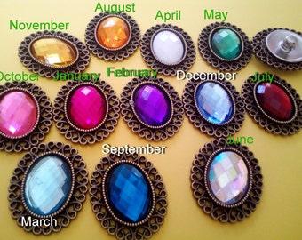 18 mm Birthstone Rhinestone Antique Bronze Frame Snap Button Fit Women Jewelry Necklace Bracelet Ring Earrings Key Bag Cellphone Decor
