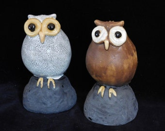 Cute owl statues-- hand built ceramic one of a kind