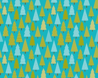 Happy Camper Trees Blue by Riley Blake Designs - Camping Forest Woods - Quilting Cotton Fabric - by the yard fat quarter half