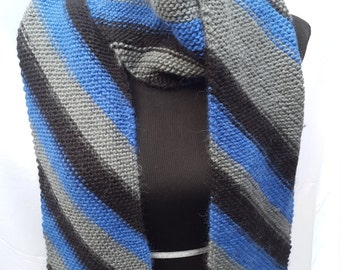 Diagonal Striped Wool Scarf