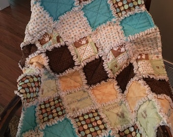 Little Boy Rag Quilt-Teal Brown and Green Quilt-Custom Baby Quilt-Birth Details Baby Quilt-Embroidered Blanket-Treasured Baby Gift