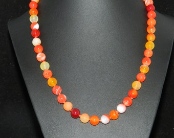"FT009 Orange Agate Necklace 18"""