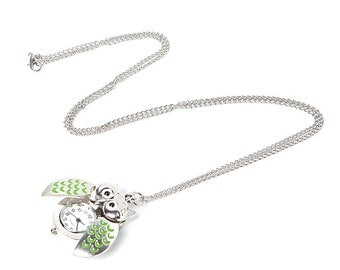 Green Owl Watch Pendant Necklace