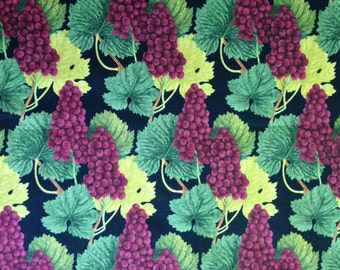 Grapes and Leaves on Black Background, Blank Quilting, 100% Cotton