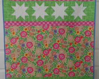 Modern Baby Girl Quilt, Pink and Green Baby Quilt, Star Baby Quilt, Baby Bedding, Adult Lap Quilt