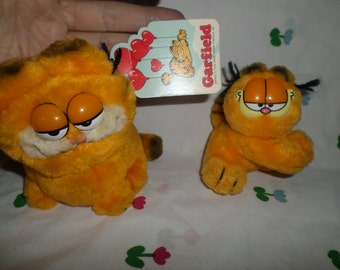 "Vintage Dakin Garfield plush small cat 4"" NWT plush Garfield 3"" clip on plush"