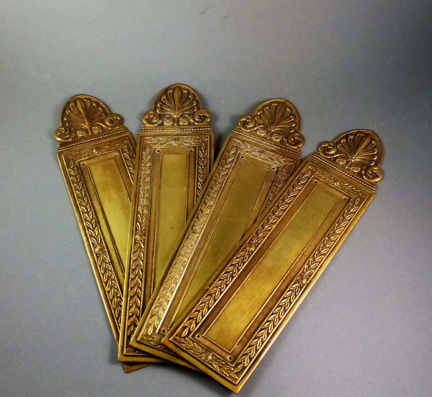 French vintage door push plates brass door finger guards for Door push plates