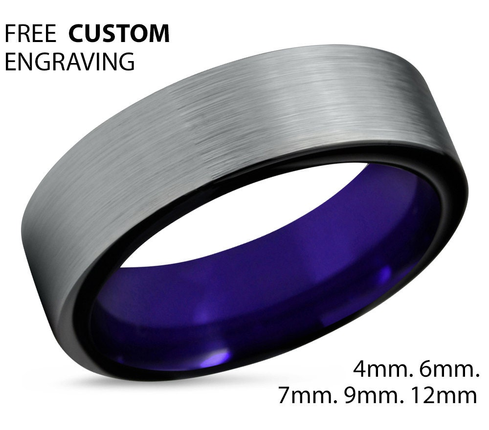 tungsten ring mens brushed silver black cobalt wedding bands Tungsten Ring Mens Brushed Silver Black Purple Wedding Band Tungsten Ring Tungsten Carbide 7mm Tungsten Man Women Anniversary Matching Size