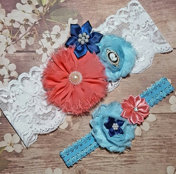 Coral Navy And Light Blue Wedding Garter SetCameo Wedding