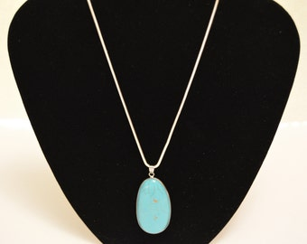 Silver Wrapped Turquoise stone with Silver Chain