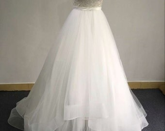 Illusion See through Neckline Ball Gown Wedding Bridal Dress