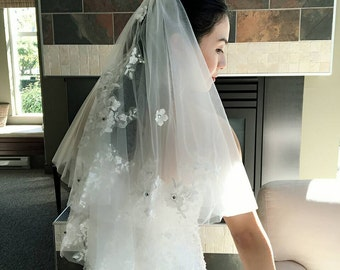 Bridal Wedding 2 Tier Veil light Ivory Blusher Rhinestone 3D flowers Petals Lace Applique Rhinestones Waist Length With Comb Made to Order