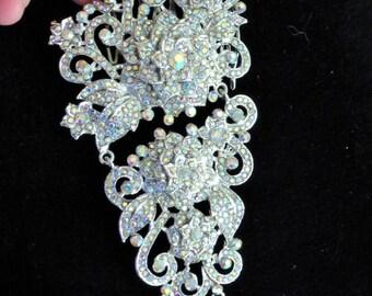 Bridal Wedding Rose Flower Hair Comb AB Rhinestone Crystals Bling