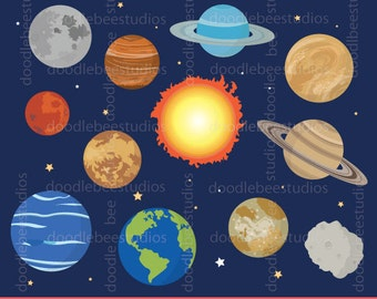 Watercolor Planets Clip Art set Solar System Science Clip