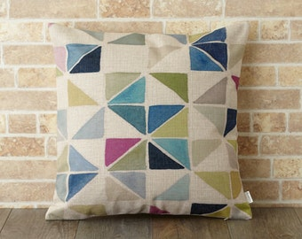 Jubilee Cushion Pillow cover case made of Natural Linen Brash Geo (SE393A)