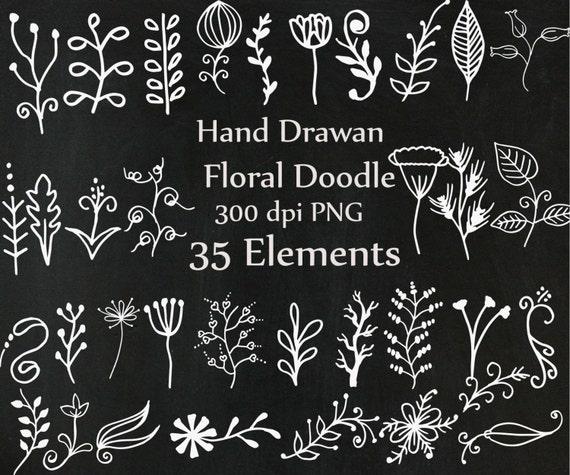 Pizarra Doodle Flores Clipart: Imágenes Prediseñadas De