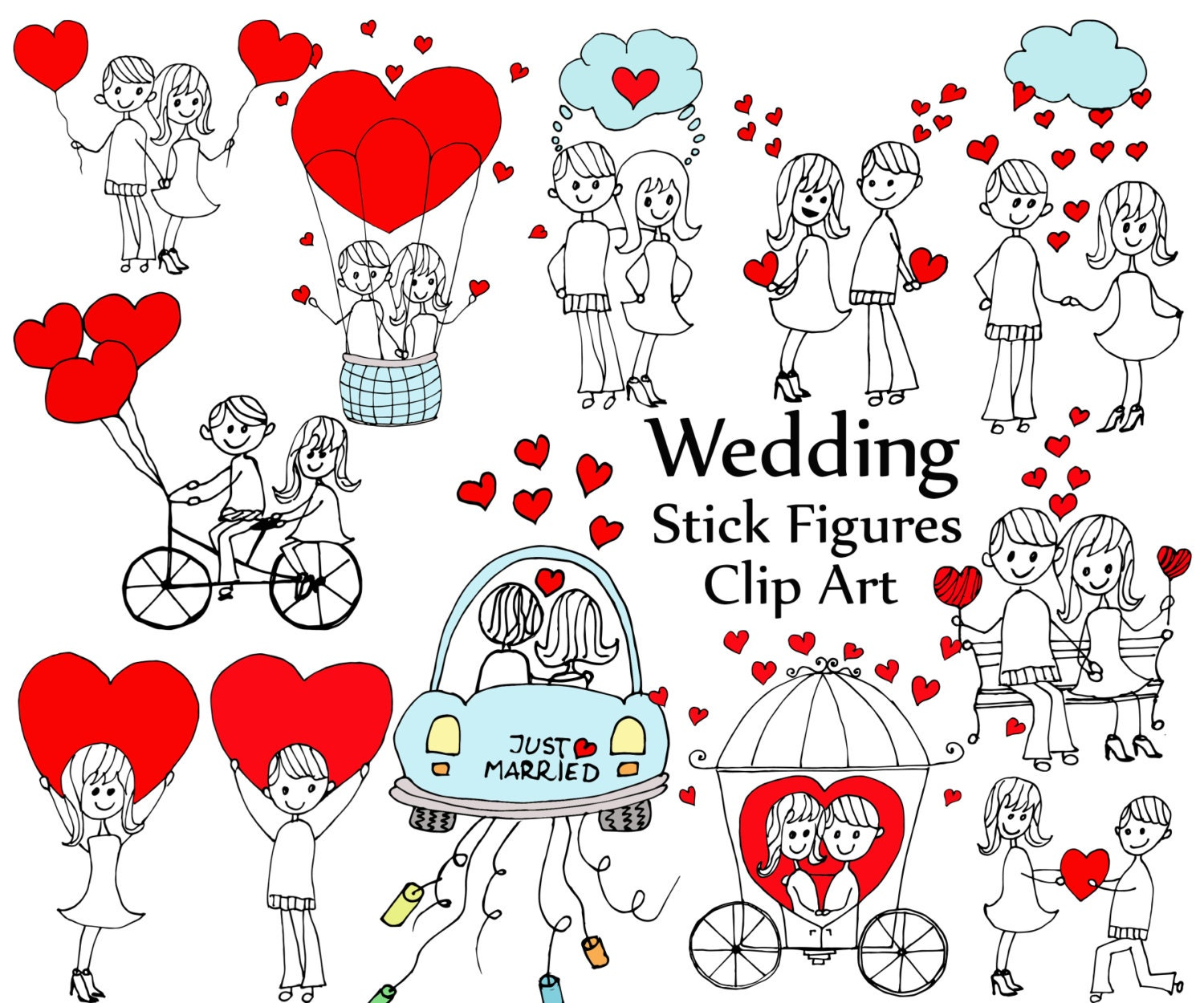 "Wedding Stick Figure Clipart: ""STICK FIGURES"" Bride And"
