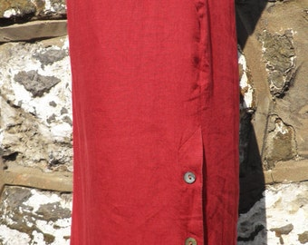 Vintage Laura Ashley Dark Red Linen Skirt  Size L