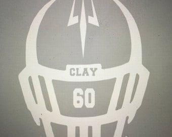 Custom Football Helmet Decal~over 45 Colors to choose from!