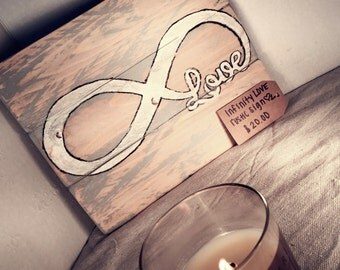 Infinity Love Rustic Sign