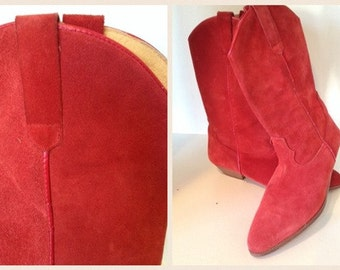 SALE----Vintage - Red Suede Cowboy / Cowgirl / Western Boots - Made in Spain