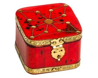 Red Jewelry Box, Small Jewelry Box, Painted Jewelry Box, Trinket Box, Small Wood Box, Wooden Jewelry Box