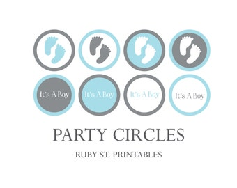 Printable Party Circles - Footprint Baby Shower - Footprint Cupcake Topper - Blue and Gray - Footprint Theme - Boy Baby Shower