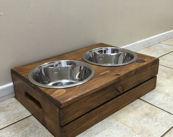 Wine Crate Dog Feeder | Wooden Dog Feeder | Crate Dog Feeder |  FREE SHIPPING