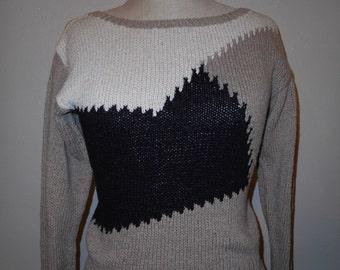 vintage 80s Lloyd Williams sweater abstract art new wave block print handmade techno express