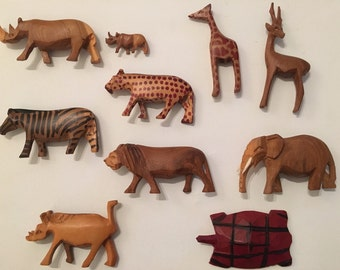 Set of 10 Wooden Animals
