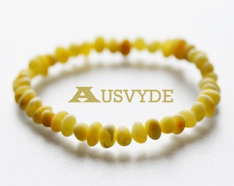Baltic amber bracelet, Opaque color, Raw Amber beads, Baroque style Amber, Natural Amber bracelet, Adults. 18 cm (7,1 inch). 5699