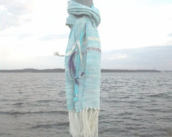 Scarf hand-woven, hand-dyed bright blue ribbon to the Roman, spring, ooak, boho