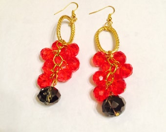 Red Crystal Chandelier Earrings FREE SHIPPING!!!