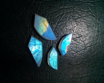 Rainbow Moonstone Fancy Shape Slice's 4 Pcs.